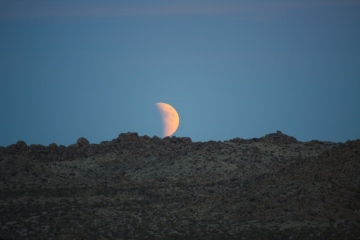 Our first view of the moon. Directly behind us the sun was setting, too; it was a spectacular thing to be in the middle of.